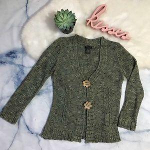 BCBGMaxAzria Crocheted Olive Cardigan